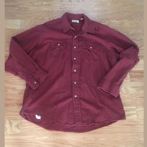 LL BEAN Red Plaid Long Sleeve Button Front Shirt